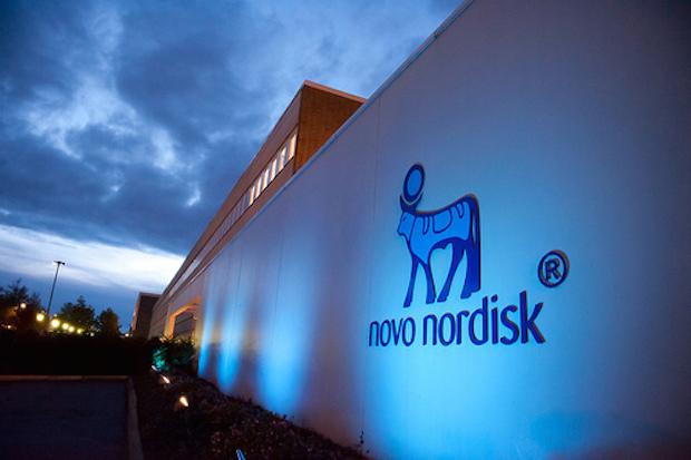 Novo Nordisk Headquarter in blue, HQ, Bagsvaerd, Denmark, Smørmosevej, Novo Alle, Logo, apis